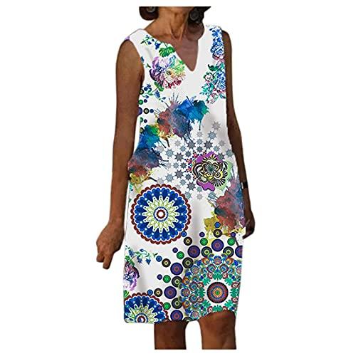 URIBAKY - Vestido de verano para mujer, de playa, retro, bohemio, cuello en V, manga corta, sin mangas, estampado floral y casual, talla grande, tallas grandes, B-azul., L