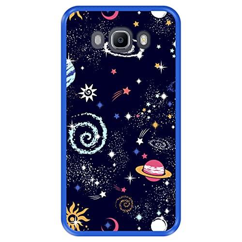Hapdey Custodia per [ Samsung Galaxy J7 2016 ] Disegni [ Costellazione, Galassia 2 ] Cover Guscio in Silicone Flessibile Blu TPU