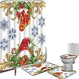Juego de cortinas baño Accesorios baño alfombras Navidad Alfombrilla baño Alfombra contorno Cubierta del inodoro Diseño clásico clásico con medias y copos de nieve de muérdago con sombrero de Papá Noe