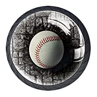 引き出しハンドルドレッサーノブ引き出しノブキャビネットノブ引き出しプルオフィスバスルームキッチンデコレーション用(4個)野球はレンガの壁に埋められました