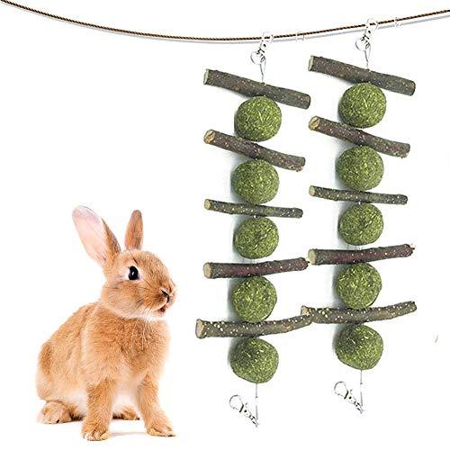 REYOK 2 pz Juguete para Masticar Conejo para los Dientes,Palitos de Heno Natural y Palos de Manzana Puede Mejorar la Salud Dental, Juguetes Masticables para Mascotas para Conejos Hámsters Chinchillas