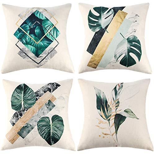 Wosendy Kissenbezüge 18x18 Set mit 4 quadratischen Kissenbezügen aus Leinen hinterlässt dekorative Kissen 45x45cm Hüllen für Couch Sofa Stuhl Wohnzimmer Schlafzimmer