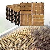 LARS360 Holzfliesen Bodenfliese Terrassenfliesen Balkonfliesen Bodenbelag mit Klicksystem und Drainage Akazien-Holz Deck Fliese für Terrassen Balkon Garten (5 m² (55 Stück), Model B)