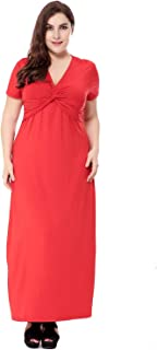 Women's Dress, V-Neck Waist Short-Sleeved Large Size Dress, Casual Home Party Evening Dress (Color : Red, Size : XXXXXL)