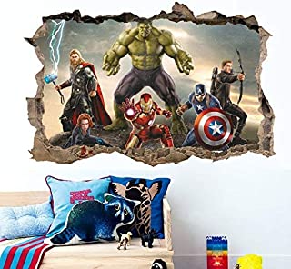 3D Effect The Avengers Wall Stickers for Kids Rooms Decor Cartoon Movie Decorative Wall Decals DIY Posters Art PVC Mural Art by PPL21-1 PCs Best Quality Wall Stickers