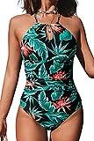 CUPSHE Traje de baño de una pieza para mujer con cuello alto y control de barriga, Verde (Green Leaf), XX-Large