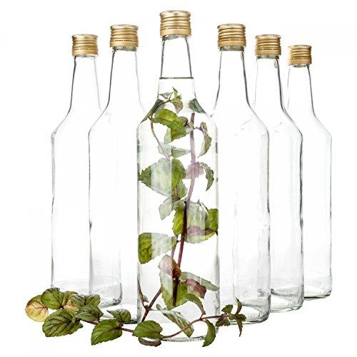 Van Well Venezia, set van 6 glazen flessen met schroefdop, vulbare fles 1 l voor likeur, jenever en bier