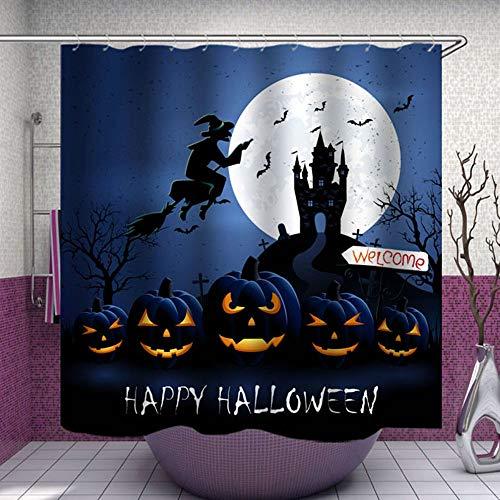 Stoff-Duschvorhang, Happy Halloween Hexe mit Kürbis Fledermäuse Mond magisch blau Polyester Designer Tuch Druck Dekorative Badezimmer Gardinen inklusive Haken Set (0001)