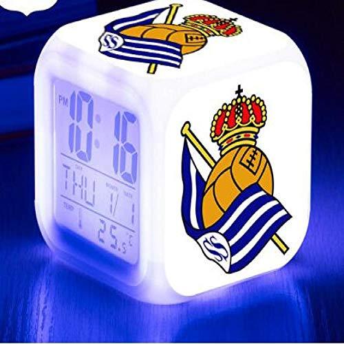 shiyueNB 7 Colores LED Reloj Despertador Football Club Reloj Flash Reloj Digital Real Sociedad de Futbol Kid Gift LED Dormitorio Lámpara Barco