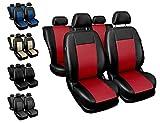 Housses Siège Auto Avant et Arrière Voiture avec Airbag Système Comfort - Noir et Rouge