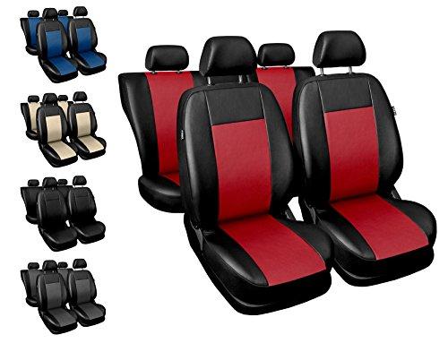 Carpendo Sitzbezüge Auto Set Autositzbezüge Schonbezüge Schwarz-Rot Vordersitze und Rücksitze - Airbag geeignet - Comfort