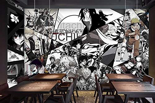 Schwarz-Weiß-Japanisch Anime Manga Tapete Naruto Boy Schlafzimmer 3D Wandbild Thema Studio Tapete 250(L) x175(H) cm