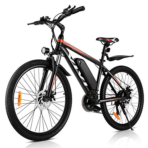 VIVI 26' Mountain Bike elettrica da 26' 250W 36V 36V 10.4Ah Batteria rimovibile Commuter Bike 25MPH 21 Speed Gears E-Bike per adulti (ARANCIONE)
