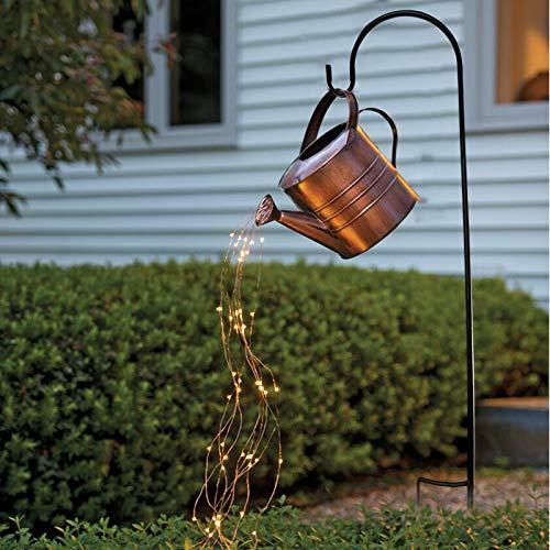 DOHAPPYS Star Shower Garden Art Light con estaca, regadera con luz de destello, lámpara de cadena de hadas LED impermeable para pasarela, patio, césped, patio trasero árbol