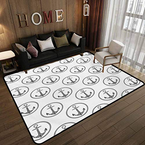 All-Match Floor mat,Floral Patterned Figures in Marine Rope Circles Monochrome Artistic Navy Summer,Non-Slip Decoration of Floor mats for Patio Doors Black White 5.6'x6.6'(170x200cm)
