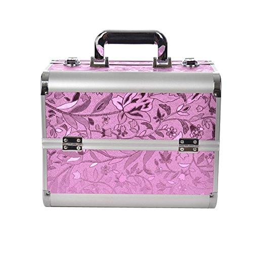 HENGMEI Alu Kosmetikkoffer Schminkkoffer Beauty Case Friseurkoffer für Schmuck Nagelart Tools (Pink)