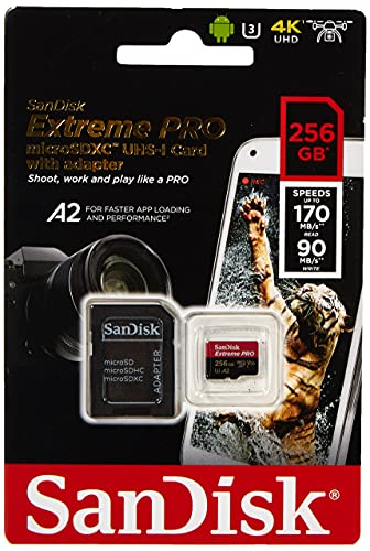 SanDisk Extreme Pro Scheda di Memoria microSDXC da 256 GB e Adattatore SD con App Performance A2 e Rescue Pro Deluxe, fino a 170 MB/sec, Classe 10, UHS-I, U3, V30