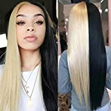 Uniyou Silky Half Blonde and Half Black Wigs 28 Inches Middle Part Long Straight Hair Wigs Premium Heat Resistant Synthetic Wig for Women Daily Wearing Halloween Costume Parties