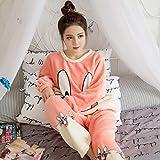 B/H Bata de Felpa de Talla Grande para Mujer,Pijama de Franela de Invierno, Traje de Servicio a Domicilio de Lana de Coral de Talla Grande-Orange_M