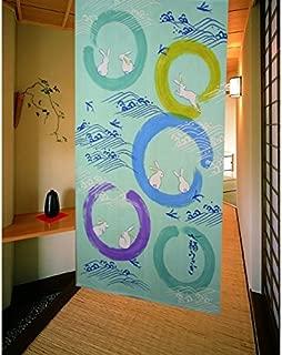 Matsumoto Shoji noren(Japanese curtain) Shichifuku Wave Rabbit 85x150 12706 from Japan