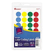 Avery Assorted Colors (Blue Green Red Yellow) Removable Print or Write Color Coding Labels 3/4 Round 1008 Labels per Pack 18 Packs (5472) [並行輸入品]