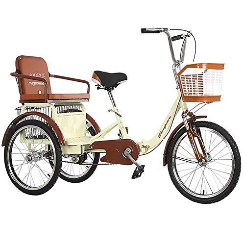 Mqmh Triciclo para Adultos 20 Pulgadas Bicicleta de 3 Ruedas Pequeño Triciclo Doble Plegable Adecuado para Adultos y Ancianos Pedal de Ocio Triciclo Nuevo Triciclo Anti-Rollover
