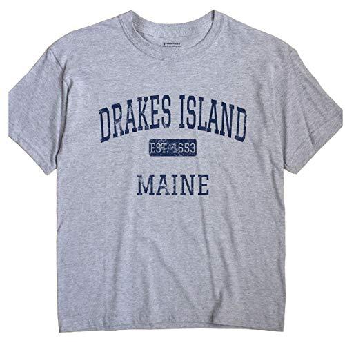 GreatCitees Drakes Island Maine T-Shirt EST XL Grey