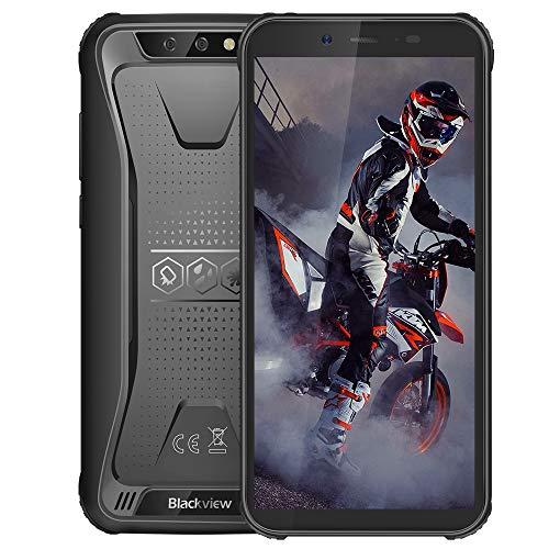 "Móvil Resistente, Blackview BV5500 Plus Android 10 Teléfono 3GB + 32GB(SD 128GB), Smartphone 4G de 5.5"" HD+ Pantalla, 8MP+0.3MP+5MP, Batería 4400mAh Movil Antigolpes, Dual SIM/NFC/Face ID/GPS-Negro"