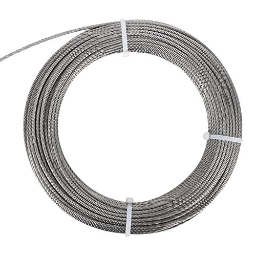 DasMarine Stainless Aircraft Steel Wire Rope Cable for Railing,Decking, DIY Balustrade, 1/8Inch,7x7 (1/8Inch, 7x7, 164FT)