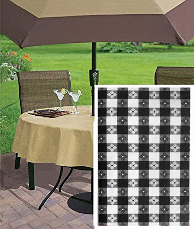 Newbridge Bistro Tavern Check Vinyl Flannel Backed Tablecloth Cafe Checkered Indoor Outdoor Vinyl Picnic BBQ And Dining Tablecloth 70 Zippered Umbrella Round Black