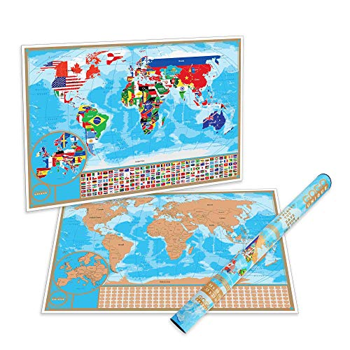 Scratch Off Map of the World with Flags - Detailed US States and Europe Map   World Scratch Off Poster is a Perfect Present for Travelers   Premium Quality And Large Size