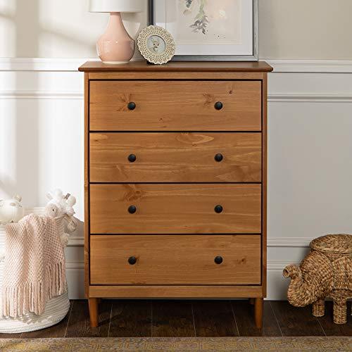 Modern 4 Drawer Dresser - Caramel