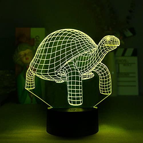 Luz De Noche Animal 3D Forma De Tortuga Decoración De Dormitorio Regalo De Vacaciones Para Niños Luz De Noche Usb Junto A La Cama