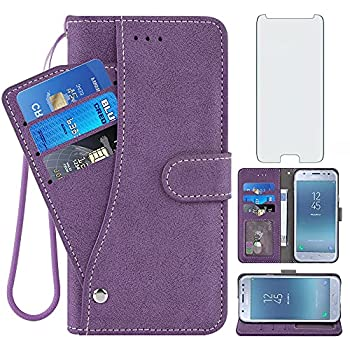 Compatible with Samsung Galaxy J3 Luna Pro J 3 Prime 2017 Emerge 3J Eclipse Mission Wallet Phone Case Tempered Glass Screen Protector Flip Cover Credit Card Holder Cell for Glaxay S327VL Women Purple