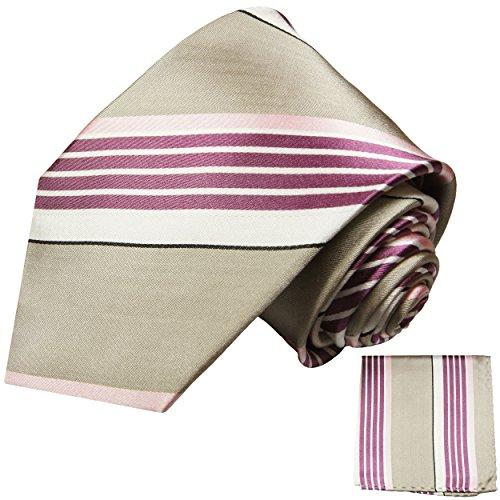 Krawatten Set 2tlg 100% Seide grau pink Seidenkrawatte mit Einstecktuch