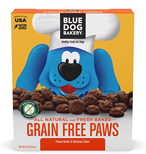 Blue Dog Bakery Natural Dog Treats, Doggie Paws, Grain Free, Peanut Butter Flavor, 16oz (1 Count)