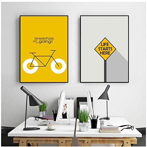 kldfig Moderne geometrische abstracte vorm fiets op verkeersborden canvas schilderij Scandinavisch wandschilderij woonkamer wooncultuur 50 * 70 cm niet ingelijst-2 stuks