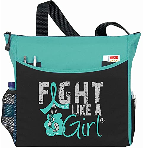"""Fight Like a Girl Boxing Glove Tote Bag""""Dakota"""" in Teal for Ovarian Cancer Cervical PCOS PKD (Assorted Colors)"""