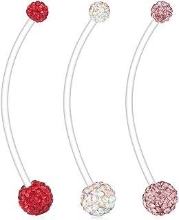 Ruifan 1-6PCS Crystal Ferido Balls Pregnancy Sport Maternity Flexible Bioplast Belly Navel Button Ring Retainer 14G 1 1/2Inch (38mm)