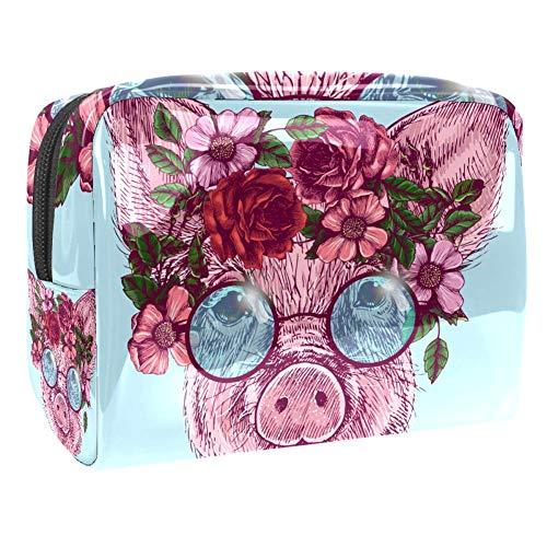 Trousse de maquillage portable en PVC - 18 x 7,6 x 13 cm - Flamant rose bleu