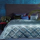 Eurofirany Bettüberwurf Velvet Samt Tagesdecke Gesteppte Decke Überwurf Steppdecke Elegant Edel Glamour Schlafzimmer Wohnzimmer Gästezimmer Lounge, Blau, 170X210cm