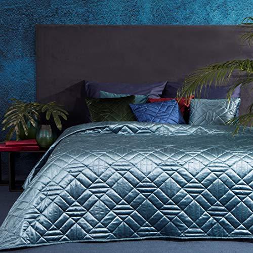 Eurofirany Bettüberwurf Velvet Samt Tagesdecke Gesteppte Decke Überwurf Steppdecke Elegant Edel Glamour Schlafzimmer Wohnzimmer Gästezimmer Lounge, Blau, 220X240cm