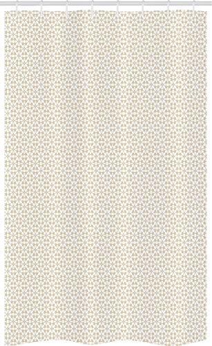 ABAKUHAUS Beige Schmaler Duschvorhang, Abstract Floral Sterne, Badezimmer Deko Set aus Stoff mit Haken, 120 x 180 cm, Weiß Tan