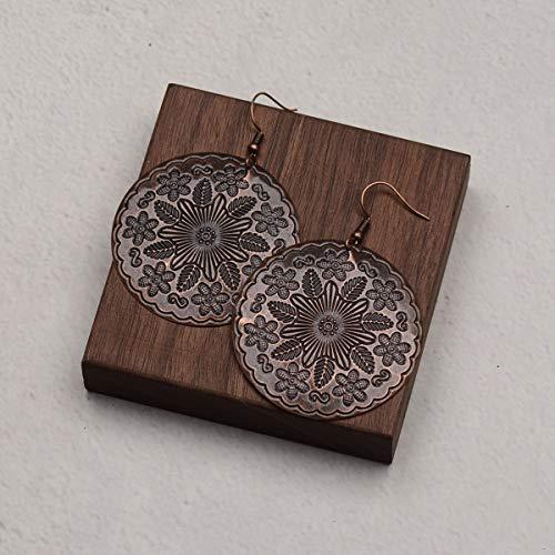 Cool Bohemia Gypsy Antique Silver Gold Gold Heart Drop Earring Tallado Flor Hollow Pendientes para Mujer Joyería gunblack