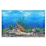 STOBOK Fondo de Pecera Adhesivo Fondo de Acuario Póster Submarino Fondo de Mundo Marino Decoraciones Pegatinas de Papel Adhesivo de Paisaje de Tanque de Peces Fondo de Pared Papel 42Cm*