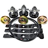 Complete Rebuild Kit Spindles Pulleys Belt Blades Compatible with Cub Cadet MTD 50' RZT RZT50 Zero Turn 742-04053A 918-04126 954-04044 756-04129