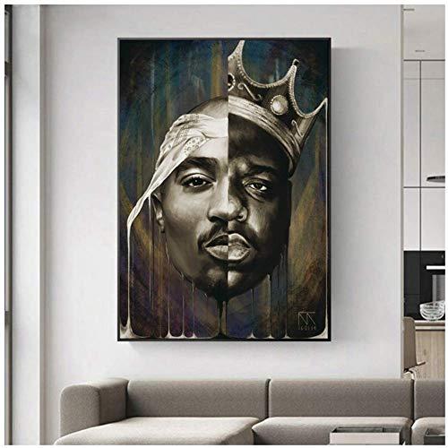 Retrato de grandes y pinturas de lienzo de Tupac en la pared Carteles e impresiones Arte moderno de la pared Cuadros de lienzo Decoración del hogar-50x75 cm Sin marco