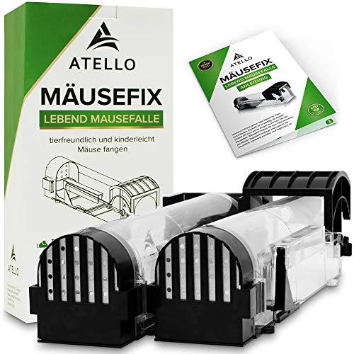 Atello® Mäusefix - Mausefalle Lebend [2er Set] - sehr zuverlässiger Auslösemechanismus - Lebendfalle mit extra vielen Löchern inkl. Tipps & Tricks