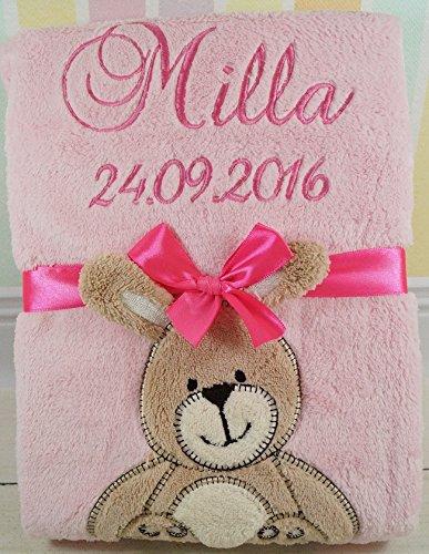Babydecke mit Namen und Datum bestickt Baby Geschenke 802027 (Rosa - Hase)