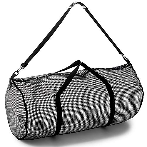 """Champion Sports Mesh Duffle Bag with Zipper and Adjustable Shoulder Strap, 15"""" x 36"""", Black - Multipurpose, Oversized Gym Bag for Equipment, Sports Gear, Laundry - Breathable Mesh Scuba and Travel Bag"""